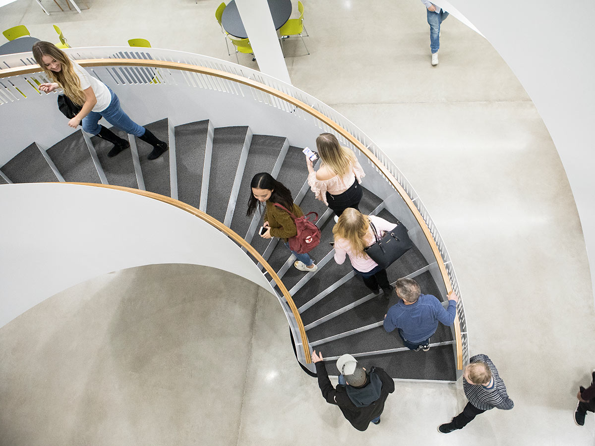 Library's stairs and people