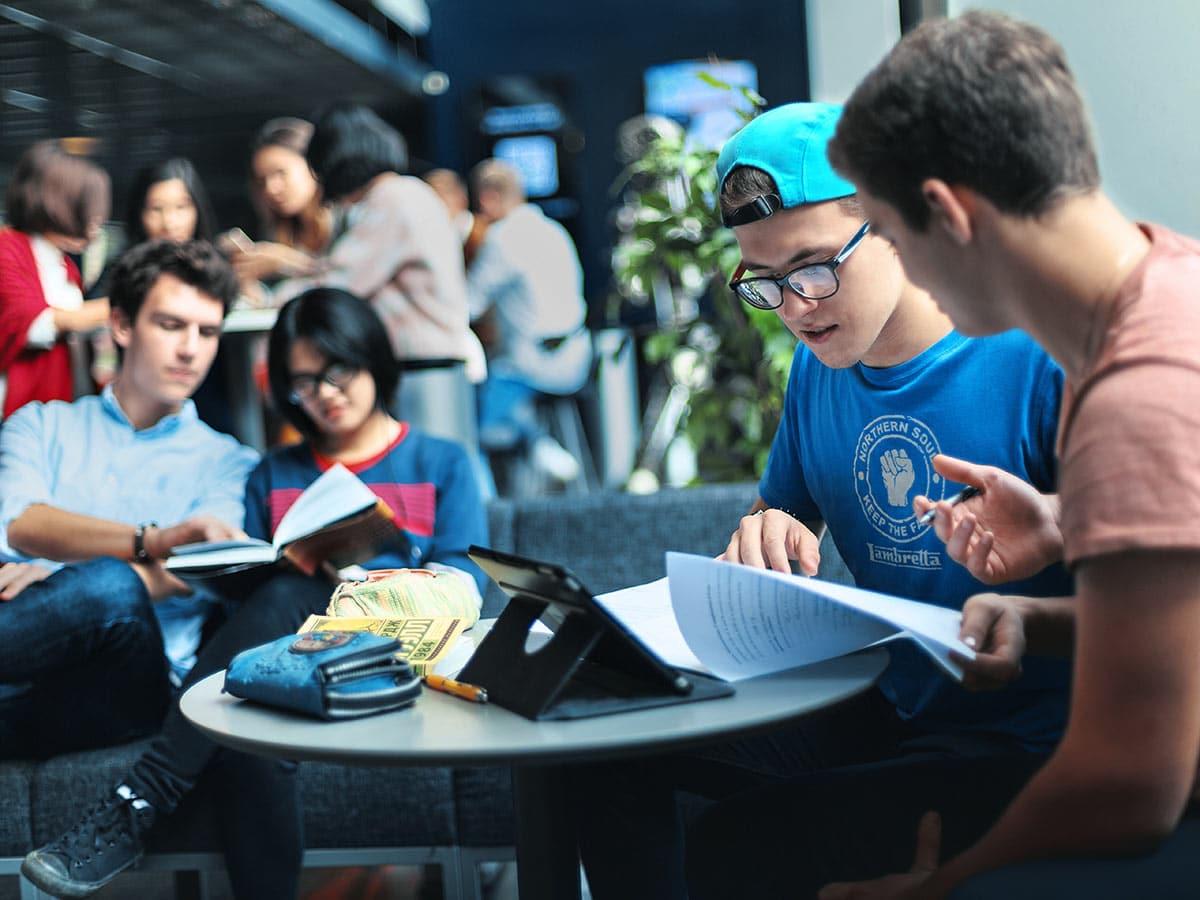 Opiskelijoita opiskelemassa yhdessa