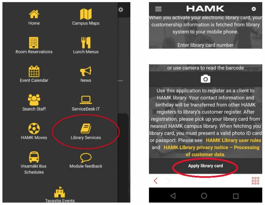 HAMK App library card