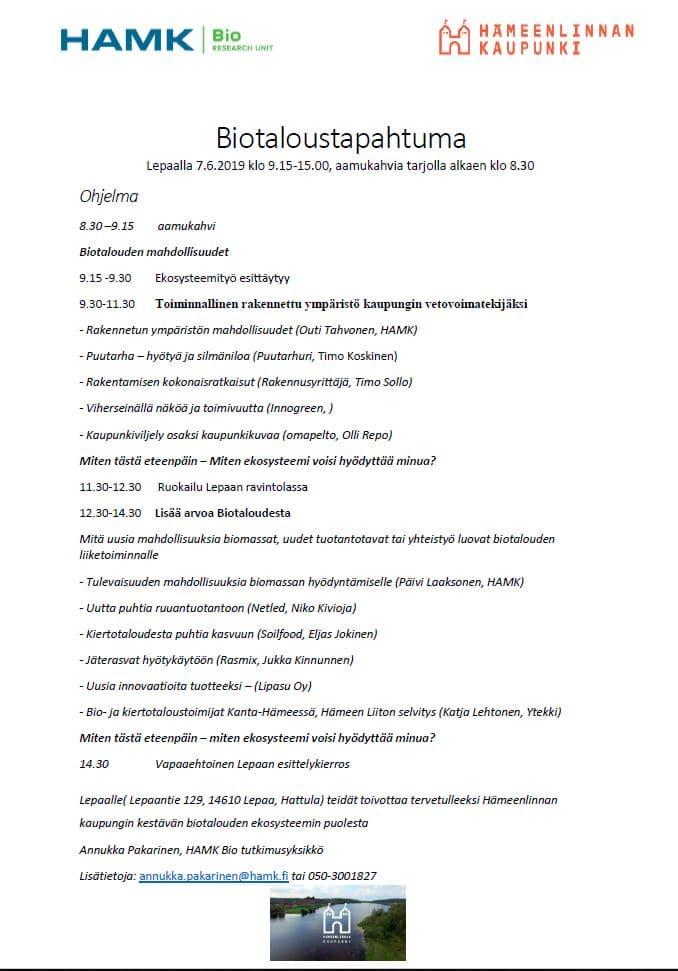 Biotaloustapahtuman ohjelma