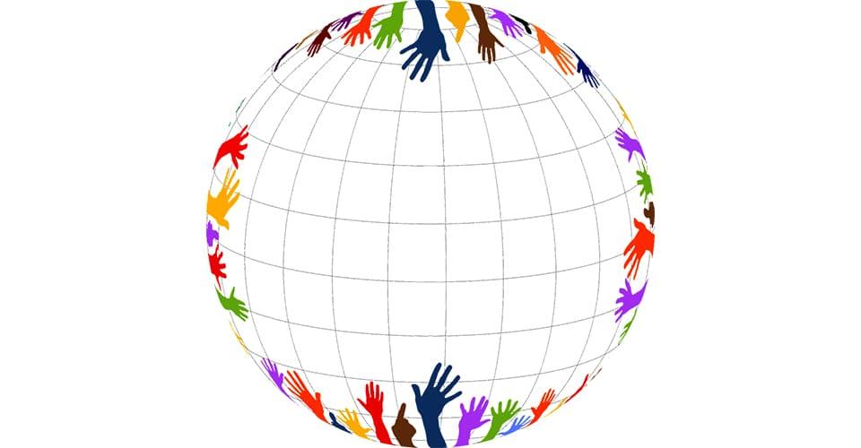 Maapallo ja kädet ympärillä