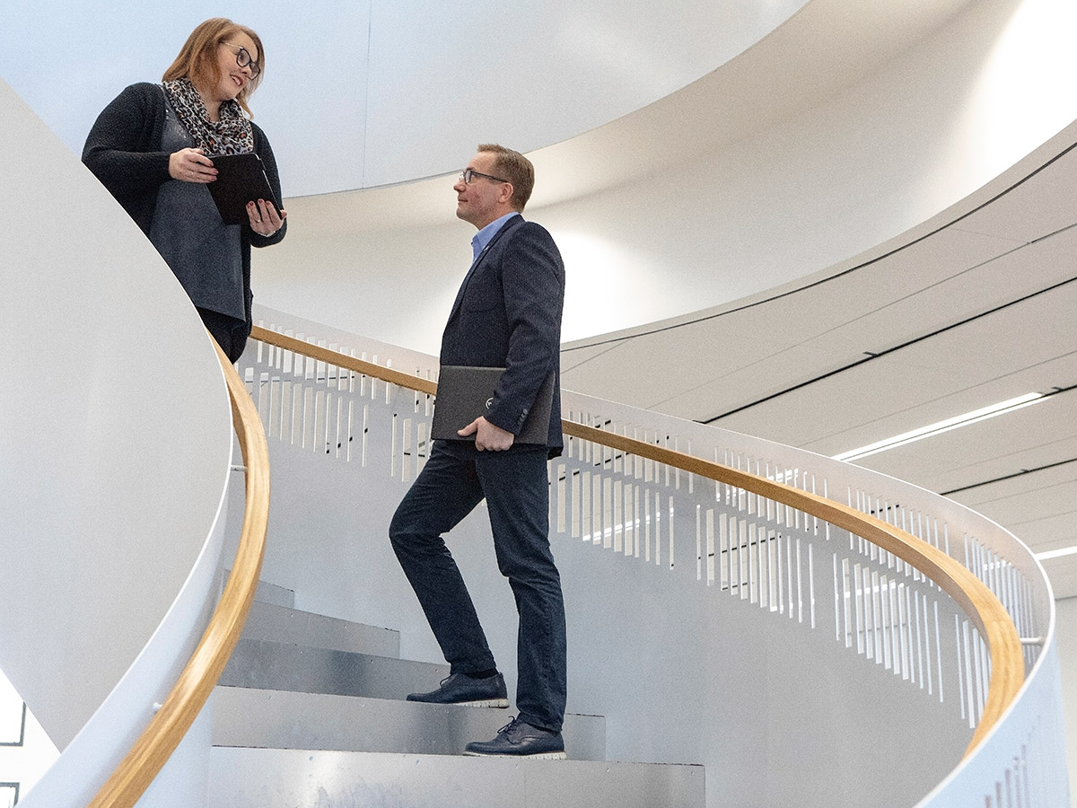 People standing on stairs