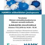 Sinisiä ja valkoisia kimaltelevia joulupalloja, tapahtuman tiedot sekä HAMIn ja HAMKin logot.