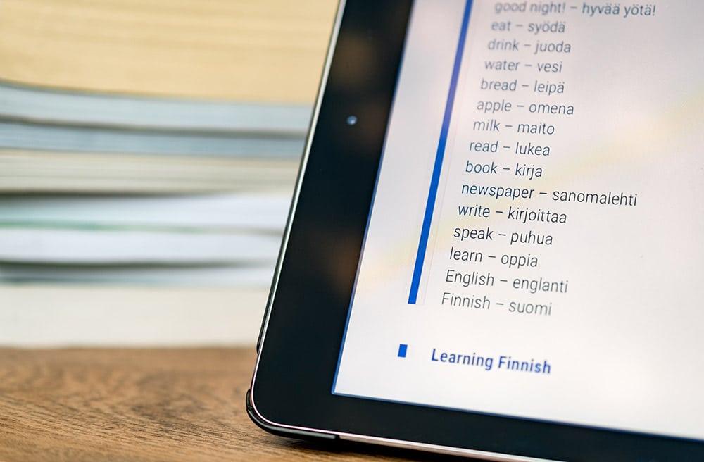 suomi-englanti sanakirja tabletilla