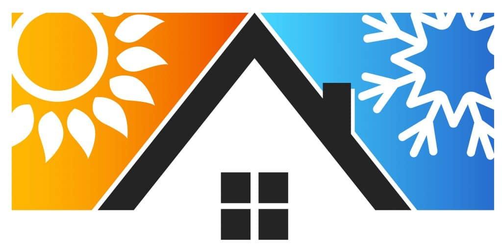 symbolikuva talosta eri lämpötiloissa