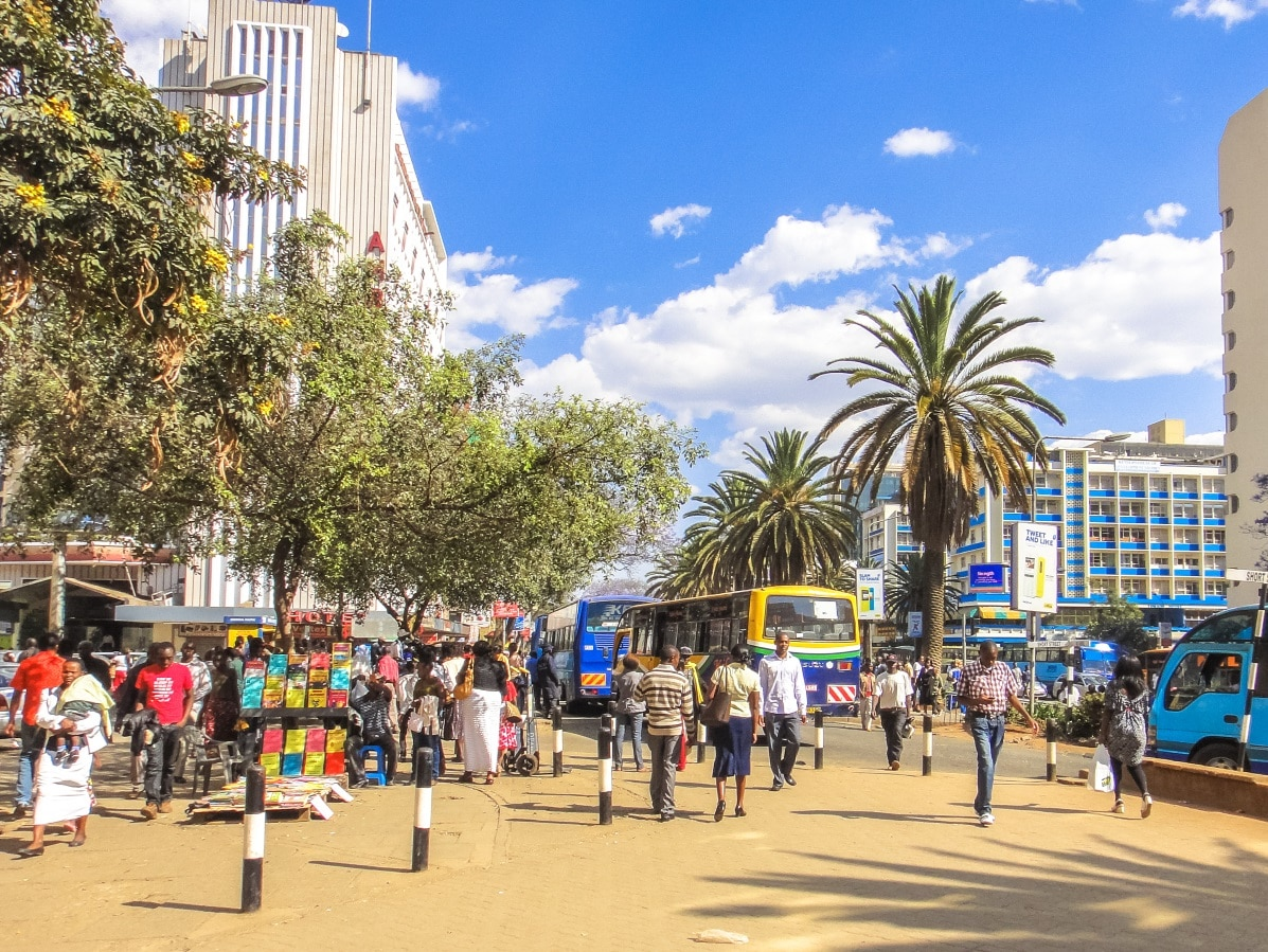People on a street in Nairobi, Kenya
