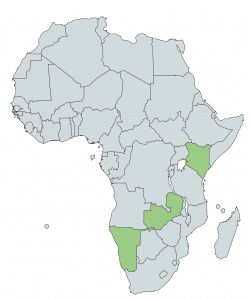 Map of Africa with Kenya, Zambia and Uganda highlighted