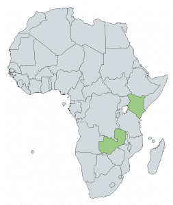 Map of Africa with Kenya and Zambia highlighted