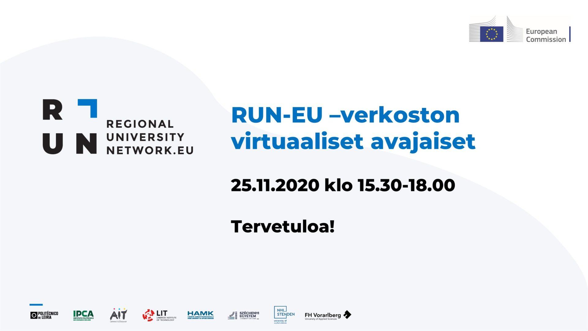 RUN-EU ja sen muodostavien korkeakoulujen logot sekä avajaistilaisuuden aika
