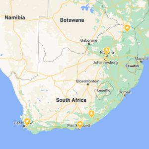 Map of South Africa with partner institutions marked