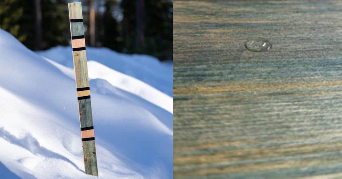 Puupinnoitteen testausta lumessa ja vedellä
