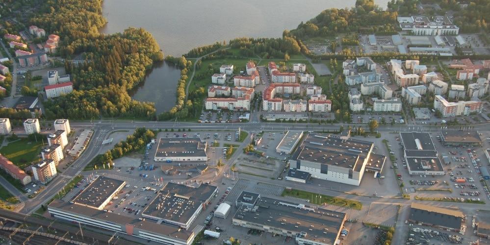 ilmakuva Hämeenlinnan kaupunkivihreydestä