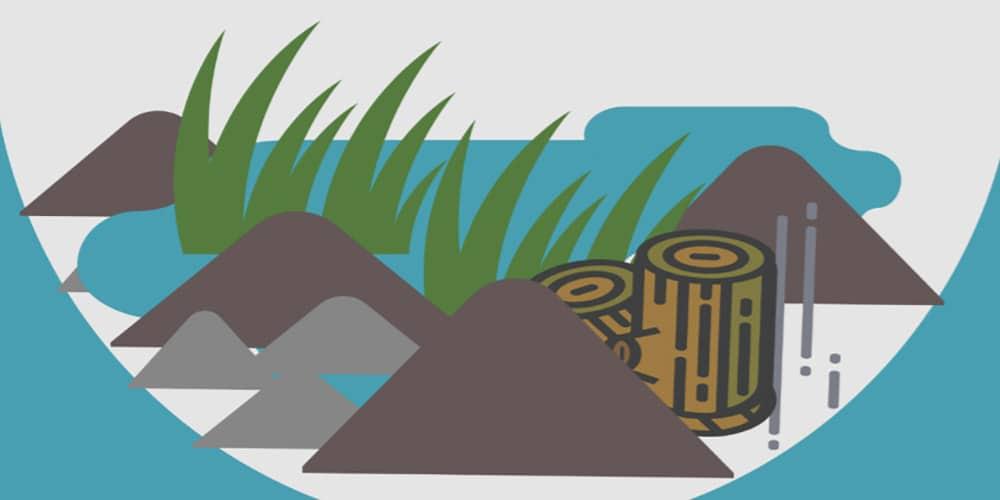 piirroksessa nurmea, vettä ja lahopuuta