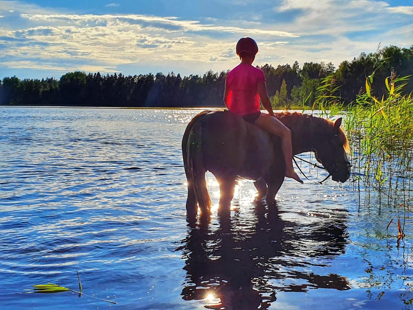 Hevonen ja tyttö veden äärellä